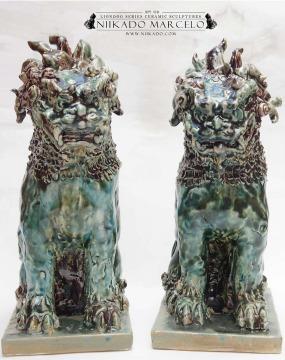 Shisa Cyan piedra 30cm alto, 14 largo x 22 prof